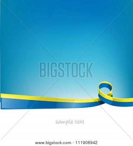 ukraine ribbon flag on sky background