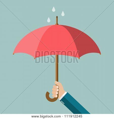 Hand Of Man Holding An Umbrella