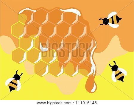 Three funny bees on gold honeycells with honey