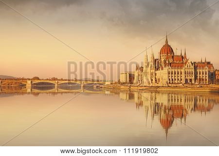 View of hungarian Parliament building at twilight in Budapest, Hungary poster