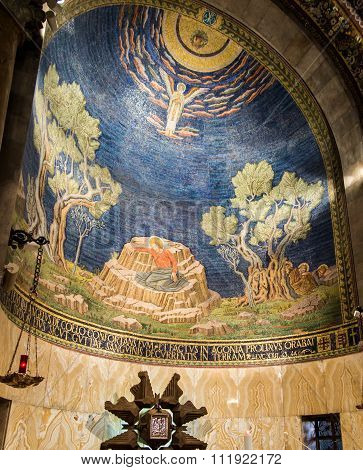 Jerusalem, Israel - July 13, 2015: The Mosaic Ceiling In The Church Of All Nations (basilica Of The