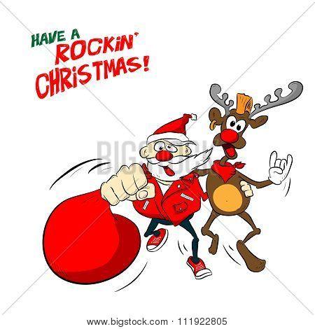 Rock Santa and reindeer illustration