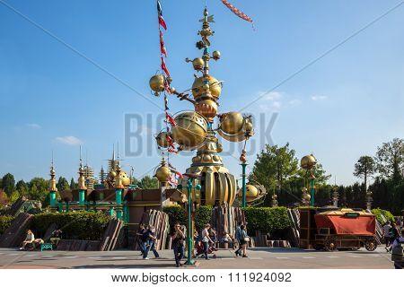 FRANCE, PARIS - 10 SEP, 2014: Attraction Orbitron with futuristic design in Disneyland.