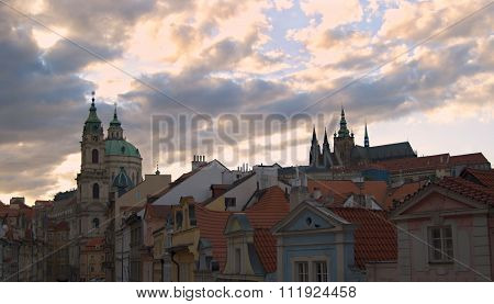 Prague Castle And St. Nicolas Church In Prague