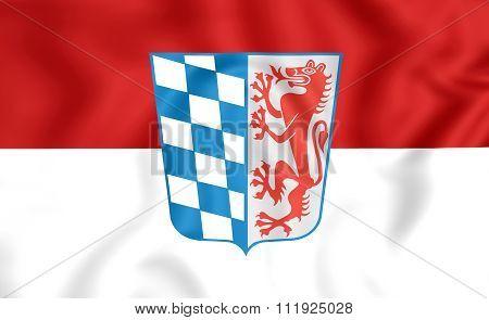 Flag Of Lower Bavaria Regierungsbezirk, Germany.