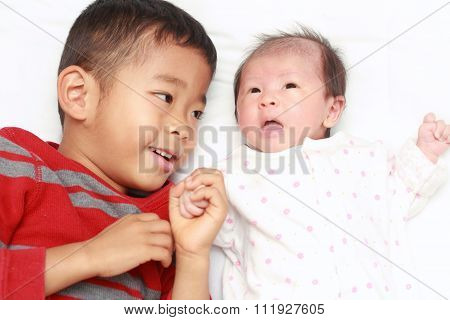 Japanese brother and sister (5 years old boy and 0 year old girl)