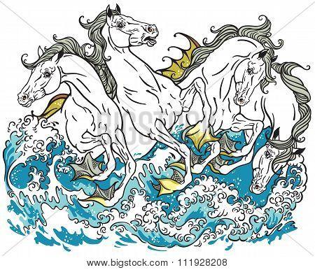 four mythological seahorses