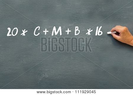 Epiphany Day, Hand Writing Sign Of Blessing On A Blackboard With The Year 2016 And The Initials Of T