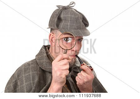 Detective investigate with magnifying glass big eye