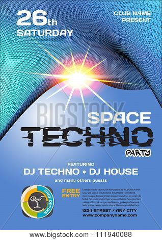 Vector Night Party Invitation Techno Style. Vector Template Grap