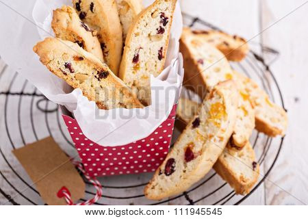 Biscotti with dried fruits and pine nuts