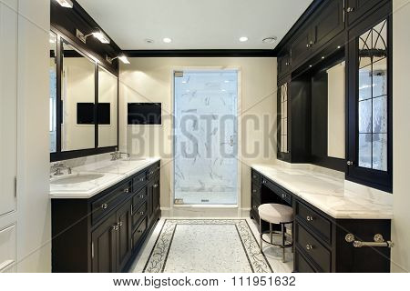 Master bath in luxury home with black cabinetry