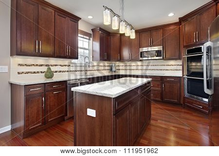 Kitchen in upscale home with cherry wood cabinetry
