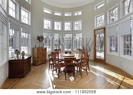 Sun room in luxury home with wall of windows