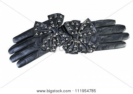 Black Women's Glove With Bow. Leather Gloves Isolated On White