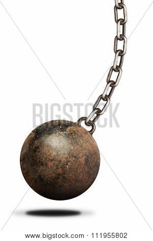 Old, heavy prisoner ball and chain