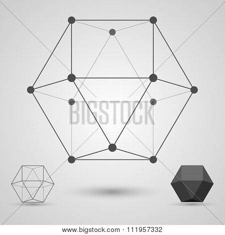 Volume Geometrical Figure In The Form Of A Skeleton. Concept Of Business And Scientific Ties.