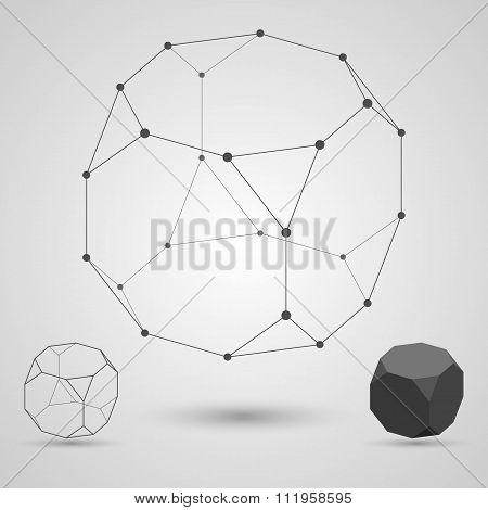 Outline Of The Polyhedron On A Gray Background. The Concept Of Interdependence.