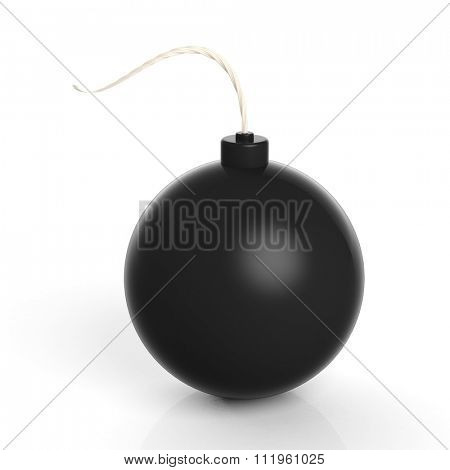 Black cannonball bomb, isolated on white background.