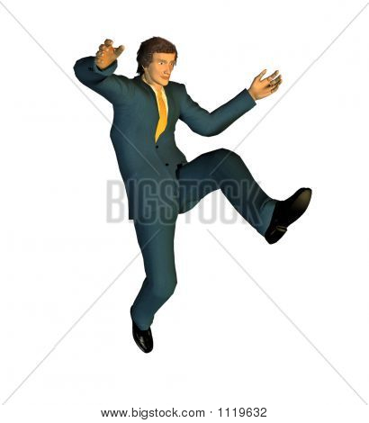 jumping businessman - - computer generated 3D picture poster