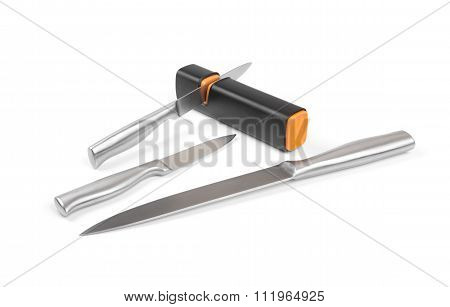 Knifes With Sharpener Isolated On White Background