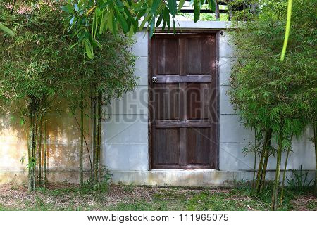 Old door with bamboo