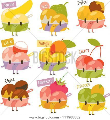 vector cute comic cartoon ice-cream flavors. Labels stickers avatars or menu illustrations. Banana, pear, toffee, litchi, mango, cherry, coffee, raspberry, pistachio.
