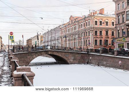 Canal Griboedov In Saint-petersburg Winter Morning