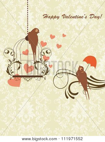 Vintage Valentine card with ornate elegant retro abstract floral design, greenish brown flowers and leaves on pale olive green background with birds hearts and text label. Vector illustration.