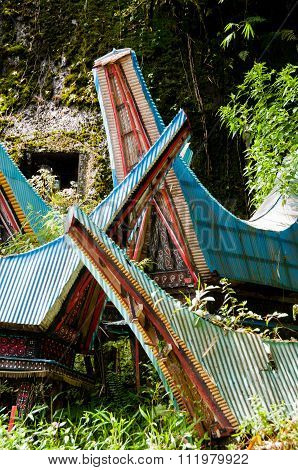 Very Unique and Traditional chaotic houses of Tana Toraja on Sulawesi