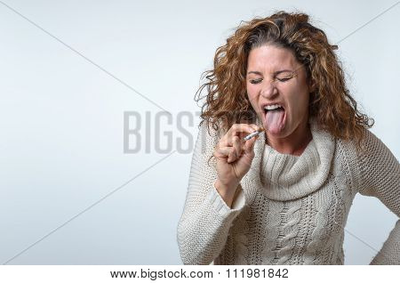 Attractive Young Woman Showing Her Distaste