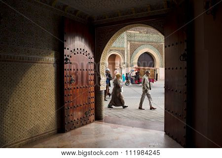 The Bab Mansour Gate In Meknes, Morocco.
