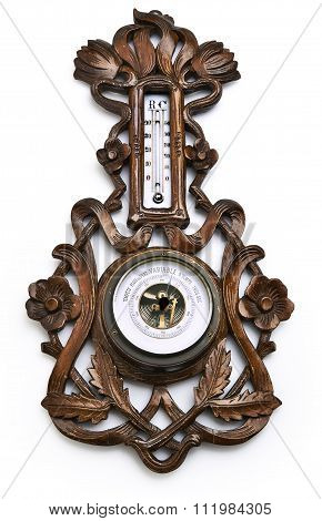 Wooden Barometer And Thermometer - Clipping Path