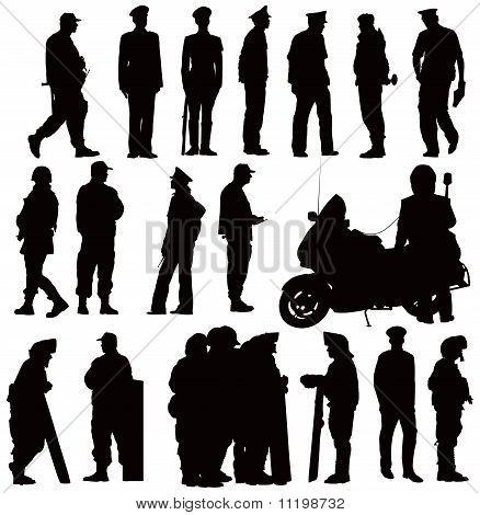 Twenty policeman black silhouettes. Vector illustration on white background poster