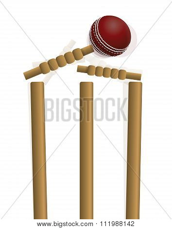 Cricket Ball Hitting The Wicket Illustration