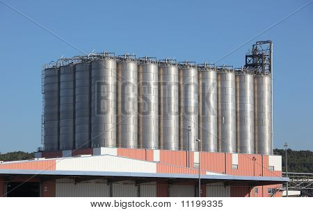 Silos In A Oil Refinery