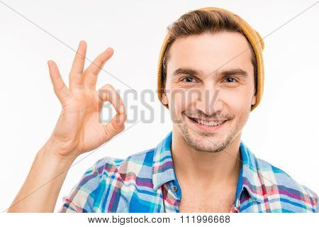 Handsome Funny Man With Hat Gesturing Ok