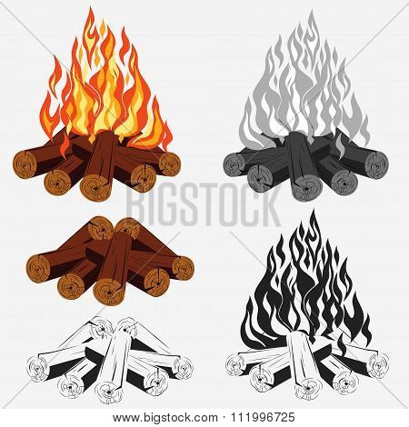 Bonfire set - camping, burning woodpile - campfire - fireplace. Vector poster