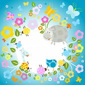 colorful nature background with flowers and animals poster
