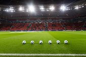 Leverkusen Germany- December 9 2015: Champions League football balls in the field before the match of the Champions League Bayer 04 Leverkusen vs Barcelona at BayArena stadium poster