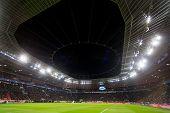 Leverkusen Germany- December 9 2015: Interior view of the full BayArena Stadium during the UEFA Champions League game between Bayer 04 Leverkusen vs Barcelona poster