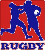 illustration of a Rugby player running fending off tackle with square shape in background poster
