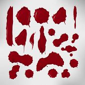 Set of realistic blood drops. Vector illustration of assorted red ink splatters. Crimson dots with gradients and highlights. Custom shapes and colours. Abstract texture for your desing and business. poster