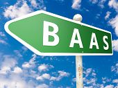 BaaS - Backup as a Service - street sign illustration in front of blue sky with clouds. poster