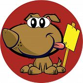 brown mascot cartoon dog with  yellow sign vector poster