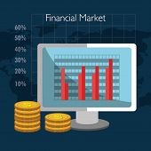 Financial market and investments graphic design with icons, vector illustration poster