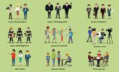 Different groups of people firefighter lawyers,  journalist and bodyguard, lawyer and focus group, geek and sales team, camera crew and tourist illustration poster