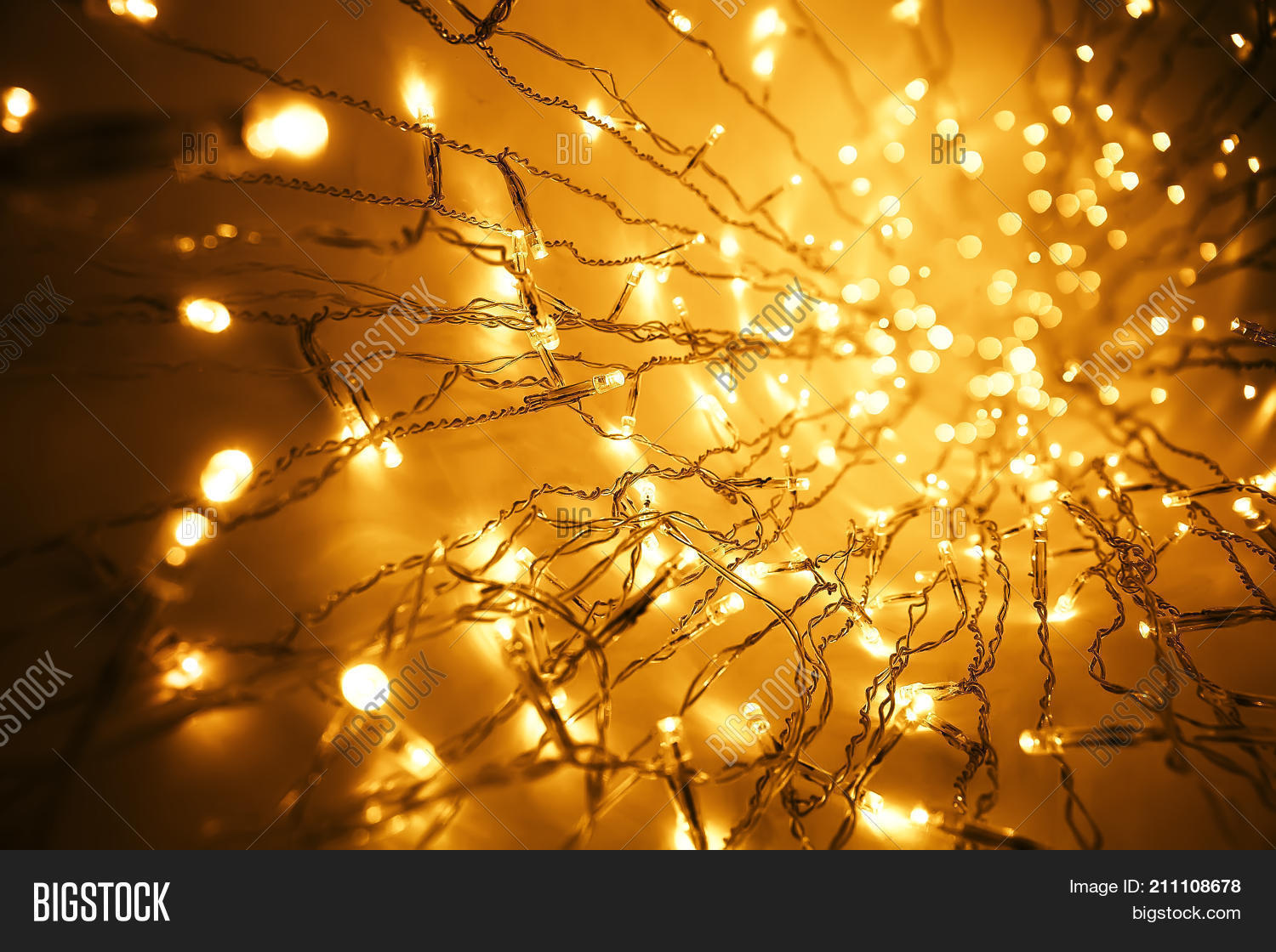 Abstract background soft blurred christmas lights garland stock