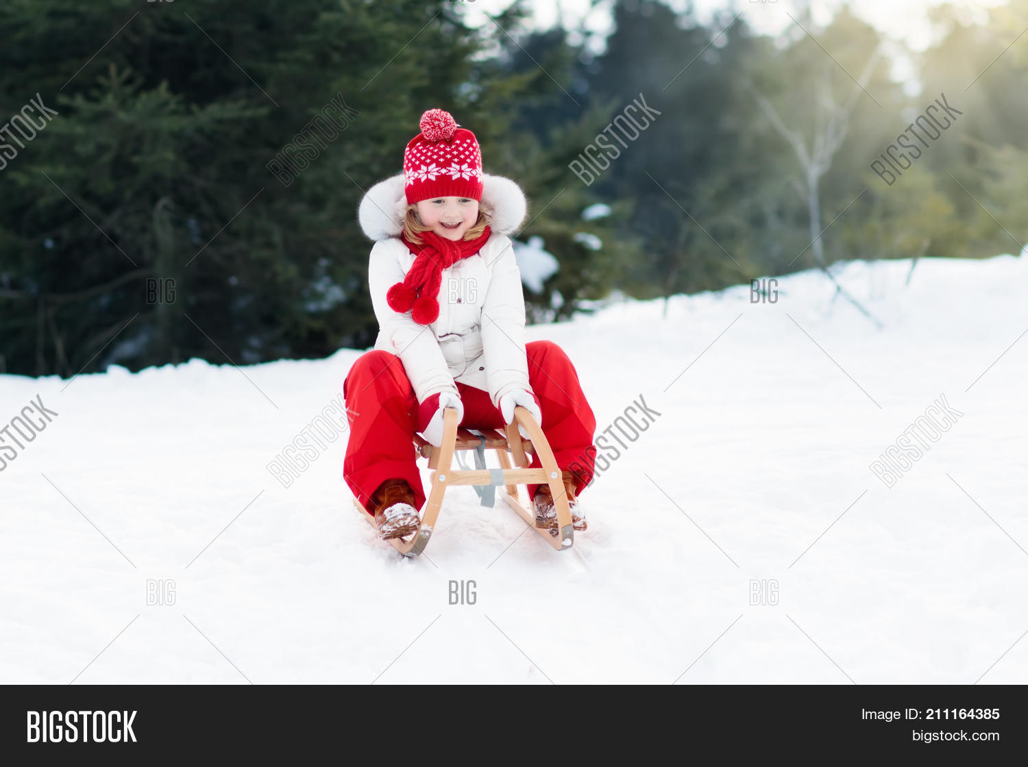 529ed41f74 Toddler kid riding a sledge. Children play outdoors in snow. Kids sled in  the Alps mountains in winter. Outdoor fun for family Christmas vacation.