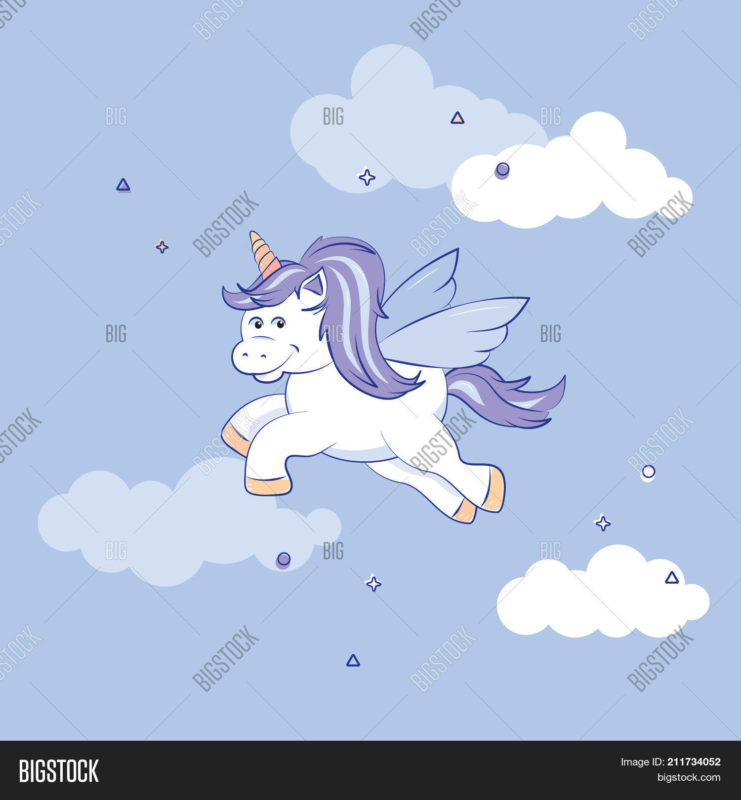 A Cute Winged Unicorn With Blue And Mauve Mane Flying Against Pale